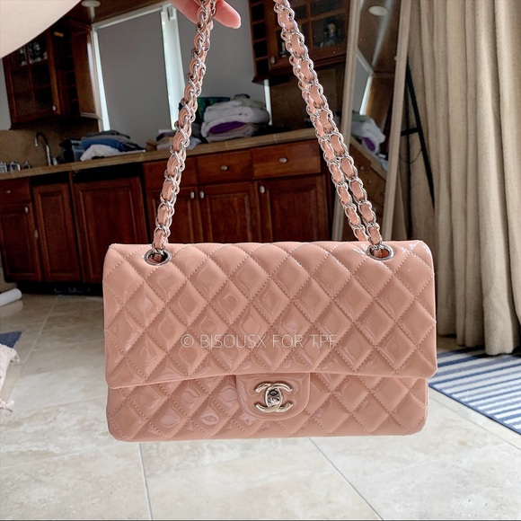 CHANEL Handbags - Chanel 11C Nude / Blush Patent Classic Flap